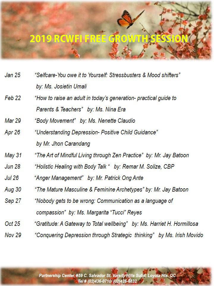 RCWFI 2019 Careshops Calendar